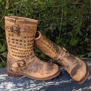 Bed Stu Wacky Cobbler Series Moto Boots Teak W 7.5